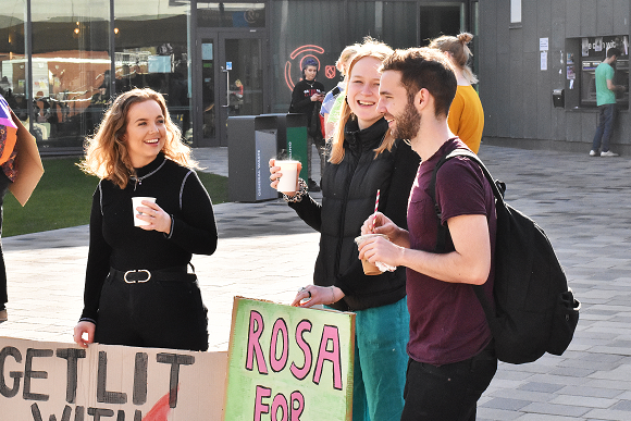 Students campaigning during officer elections