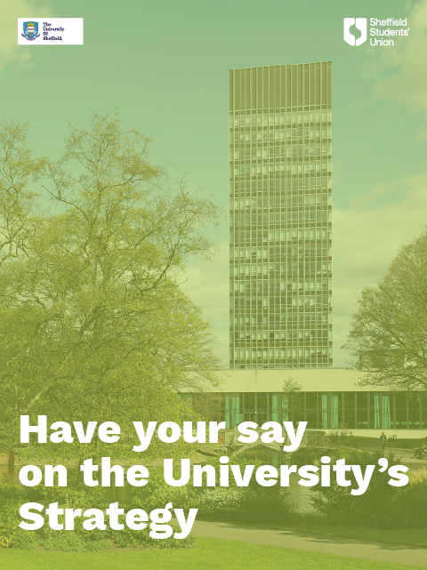Arts Tower and the text 'Have your say on the University's Strategy'